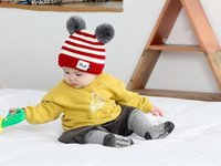 mejores sombreros de invierno para niños al por mayor-La mejor venta Lovely Baby Winter Warm Stripped Bear Hat Baby Toddler Punto doble Bolas de punto Cap Child Hat Kids Bear Cap Patchwork Christma