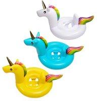 diversión inflable al por mayor-Vueltas inflables de natación Vueltas de natación de unicornio Arco iris flotante Montaje en hilera de natación con gruesas pvc vida boya para niños Juguetes de diversión