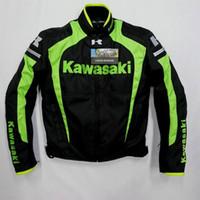 revestimento de nylon da motocicleta da competência venda por atacado-Homens jaqueta KAWASAKI inverno roupas de corrida de automóveis motocicleta roupas forro removível térmica flanchard