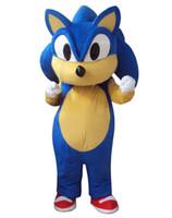 kostüm sonic großhandel-Professionelles Sonic-Igel-Maskottchen-Kostüm-Abendkleid für erwachsenes tierisches blaues Halloween-Partyereignis