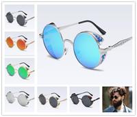 gafas de sol polarizadas circulares al por mayor-Nueva Sra. Punk vapor circular gafas de sol polarizadas marco grande cara de deslumbramiento deslumbramiento gafas de sol de calidad femenina gafas de viaje al aire libre