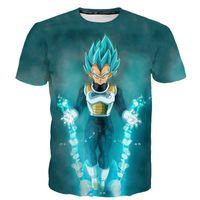 ejderha topu ışığı toptan satış-Sıcak Satış Dragon Ball Z Vegeta T Gömlek Light Up Anime Süper Saiyan Goku T-Shirt Erkekler gençler için Üst Tee