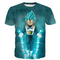 ingrosso camicie a maglia leggera-Vendita calda Dragon Ball Z Vegeta Maglietta Light Up Anime Super Saiyan Goku T-Shirt Uomo per adolescenti Top Tee