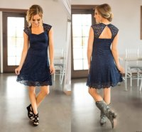 Wholesale Black Full Length Bridesmaid Dresses - 2018 Short Beach Navy Blue Full Lace Bridesmaid Dresses Capped Sleeves Knee Length Maid of Honor Gowns Cheap Country Wedding Guest Dress