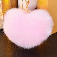 меховое кроличье сердце оптовых-Lovely Heart Shape Soft Pompons Ball Rabbit Fur Keychain Car Handbag Key Ring Multicolor Fluffy Fur Charms Valentine's Day Gift