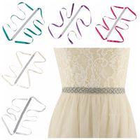 Wholesale diamond bridal belts - Hot Manual Rhinestone Wedding Dress Belt Cummerbunds Elegant Crystal Diamond Bridal Sash Belt Bridal Gown for Wedding Dress