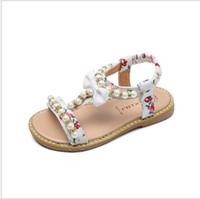 sapatos abertos para meninas venda por atacado-tamanho 21-30 quente 2018 verão novas sandálias das meninas coreanas meninas aberto toe pérola princesa sapatos pequenos deslizamento sapatos de bebê