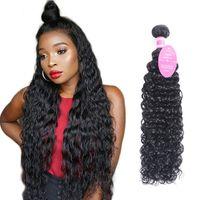 ingrosso comprare tessuto dei capelli umani-Fasci di capelli umani dell'onda dell'acqua Bundle di tessuto brasiliano dei capelli possono comprare 3 o 4 pacchi estensioni dei capelli 1pc dei capelli di Remy Jet Black (1 #)