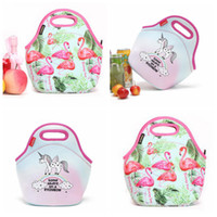 Wholesale girls lunch totes - Neoprene Unicorn Flamingo Food Bag Cartoon Lunch Tote Bag Cooler Bag Food Carrier Thermal Bags Girls Handbags OOA5385