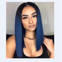 women blue hair 도매-MHAZEL 100 % 섬유 12inch 진짜 머리 파란 머리 가발 레이스 앞 짧은 밥 glueless 가발 여자