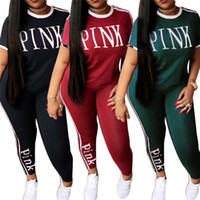 Wholesale polyester tracksuits wholesale - PINK Tracksuit Women Summer Sportwear Yoga Suit Fitness Short Sleeve Tees Gym Tops Sweatshirt Pants Leggings Trousers Outfits AAA370