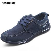 Wholesale men plimsolls - COSIDRAM Canvas Men Shoes Denim Lace-Up Men Casual Shoes New 2017 Plimsolls Breathable Male Footwear Spring Autumn RME-252