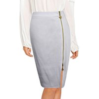 ad756d5a0e3 Women High Waist Skirt Elegant Zipper Front Split Sexy Midi Skirt Lady  Office Bodycon Pencil Skirt 4XL Plus Size Saia Female