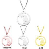 Wholesale Country Maps - US Map Michigan States Pendant Necklaces I Heart Michigan Charm Country Necklace Rose Gold Stainless Steel Love Hometown Jewelry Wholesale
