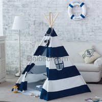 Wholesale Kids Play Teepee - Wholesale-Dalosdream Foldable Cotton Canvas Indian Teepee Kid Play Tent for Children Playhouse-Blue and White Stripe.
