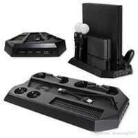 controlador profesional al por mayor-PS4 Pro PS VR Gamepad Estación de enfriamiento de doble ventilador Soporte vertical multifunción con base de carga para controlador
