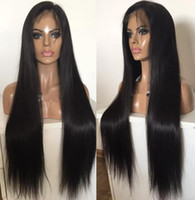 en iyi dereceli bakire kıl toptan satış-10A Sınıf En Kaliteli Tam Dantel Peruk Brezilyalı Virgin İnsan Saç Siyah Kadınlar için İpeksi Düz Gluelss Dantel Ön Peruk Ücretsiz Shippiing