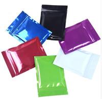 bolsas de regalo de aluminio al por mayor-100 unids 6 colores de aluminio bolsa Ziplock Bolsa de papel de fondo plano brillante bolsa de embalaje de la muestra bolsa de té en polvo bolsa de regalo