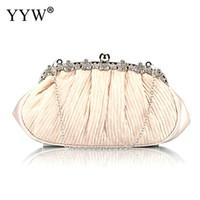Wholesale gold elegant evening bag resale online - Pearls Beaded Evening Bag Sequin Elegant Handmade Day Clutch Hot Ivory White Evening Clutch Bag Full Dress Purse And Handbag