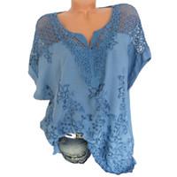 mavi şifon v boyun gömlek toptan satış-2018 Yaz Kadın 5XL Artı Boyutu Mavi Nakış V Yaka Baskı Şifon Bluz Kısa Kollu Batwing Düzenli Düzenli Gömlek Giyim