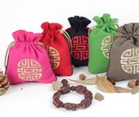 bordado de cuentas chino al por mayor-Doble lado bordado bolso de la joyería bolsa de estilo nacional chino Bodhi Beads pulsera pendiente collar bolsa étnica exótica almacenamiento SN1385