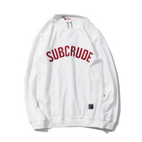 Wholesale Japanese Style Men Hoodies - Japanese Harajuku Style Mens Pullover Brand Fashion Men Hoodies O-neck Letter Printed Long Sleeved Sweatshirts Male Clothes