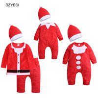baby neujahr kostüm großhandel-Weihnachtskostüm für Baby Boy Girl Strampler Neugeborenen Hut Overall New Year Born Kleinkind Overalls Schneeanzug Kleidung