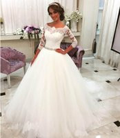 Wholesale romantic shorts for sale - New Romantic White Wedding Dresses Ball Gown Tulle Lace Long Bridal Party Gowns Plus Size Informal Wedding Dresses