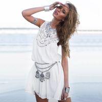 vestido branco boêmio xl venda por atacado-Bohemian Estilo Vestido de Verão Branco Chiffon Oco Out Sem Mangas Casual Delicado Lace Yoke Vestido Boho Praia Maxi Vestidos