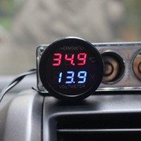 voltímetro termômetro carro venda por atacado-2 Em 1 DC 12 V 24 V Digital Voltímetro Do Carro Termômetro Monitor de Temperatura Medidor de Monitor de Bateria Azul Vermelho Levou Dupla