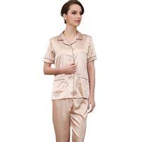 b00b8f0d2e 36% Off. AUD  33.14 · Summer Shirt+Pants Sleep Set Satin Men 2PCS Sleepwear  Male Casual Home Wear Short Sleeve Pajamas Pijamas Set Plus ...