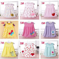 Wholesale Cheap American Girl - baby girl cotton dresses summer cartoon skirt embroidered kids sleeveless A line dot flower striped princess dress for 0-2T children cheap B