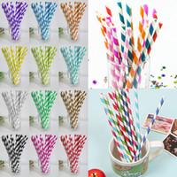 Wholesale paper straws stars resale online - New Colorful Drink Paper Straws strip star pattern drink paper straws Multi color Eco friendly Drinking Straws