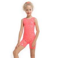 bale giysileri kız toptan satış-3-10Y Kızlar Çocuklar Bale Elbise Jimnastik Mayoları Kolsuz Dans Tulum Dans Patenci Giyim Bale Giyim Kostüm