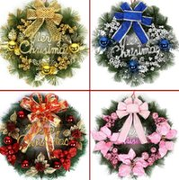 ingrosso finestra di natale-Merry Christmas Wreath Ghirlanda Hanging Plate Xmas Ornaments Window Door Decor Capodanno elegante corona per la porta d'ingresso