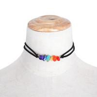 frauen choker halsbänder großhandel-Mode gothic frauen yoga buddha perlen choker tattoo armband frauen schmuck einfache bunte natursteine chakra halskette charme kragen