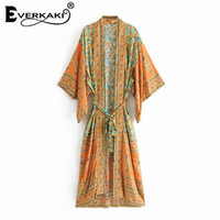 chaquetas bohemias al por mayor-Everkaki Boho Print Kimono abrigos chaquetas mujeres con chaquetas Bohemia suelta algodón verde abrigo Kimono chaquetas femenino 2018 verano