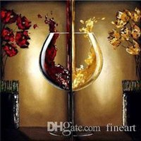 glass canvas Canada - 100% Handmade unframed good quality 2 panel paintings wine glass wall living room home decor decoration paintings