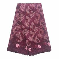 Wholesale materials net - WorthSJLH Swiss Cord Embroidery Materials Burgundy High Quality African Tulle Lace Fabric With Beads Nigerian Lace Fabrics 5 Yards Lot Net