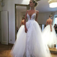 Wholesale Lace Plunging Sexy Wedding Dress - 2018 Charming White Sexy Straps Wedding Dresses with Overskirts Wedding Dresses Plunging V Neck Backless A Line Tulle Bridal Gowns