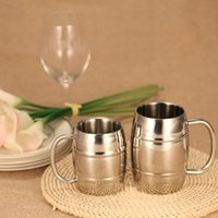 coffee mug shapes NZ - Double-Wall Stainless Steel Drinking Coffee Tea Cup Tub-shaped Beer Mug Beverage Picnic Cup Drinkware with Handle Wipe-clean