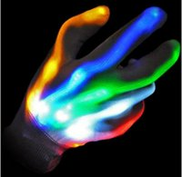 Wholesale led lights for glove resale online - LED lighting up gloves flashing cosplay novelty ghost skull glove led glowing toy flash finger gloves for Halloween Christmas Party