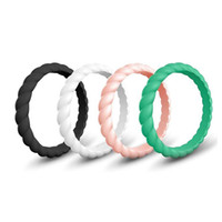 Wholesale ring thin band online - Braided Silicone Ring Wedding Bands for Women Fashion Silicone Rubber Flexible Rings Thin and Stackable Girls Lady Jewelry