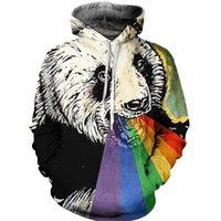 sweatshirt kapuzenpanda großhandel-Neue Mode Regenbogen Panda Kapuzen Sweatshirt Männer Frauen Langarm Oberbekleidung Pullover 3D Hoodies LMS0012