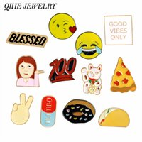 Wholesale Food Plate Decoration - QIHE JEWELRY Cartoon Emoji Pizza Taco Donuts Food Cat Pins Brooches Badges Backpack For Bags Jeans Clothes Decoration