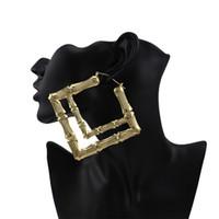 pendientes cuadrados dobles al por mayor-Sección de bambú patrón pendientes de aro chapado en oro hoja de hierro doble cuadrados pendientes mujeres 2018 nueva joyería de moda al por mayor envío gratuito