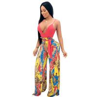 Wholesale wide leg jumpsuits online - European hot backless rompers women jumpsuit v neck wide leg pants loose print combinaison femme