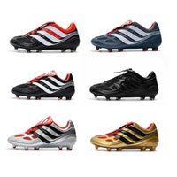 Wholesale Precision Flat - 2018 Men Football Boots Predator Precision FG Soccer Boots Cleats Mens Falcon Soccer Shoes David Beckham FG Gold Size 39-45 With Box