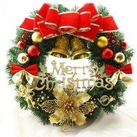 Wholesale Hot Selling Christmas wreath CM Christmas decoration door hanging rattan circle wreaths Hotel shopping center layout