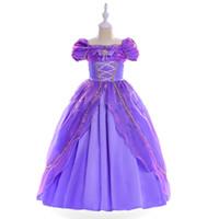 rapunzel cosplay kostüm toptan satış-Çocuk Kız Rol Oynamak Tangled Dreses Düğün Parti Prenses Elbise Mor Rapunzel Cosplay Kostüm Cadılar Bayramı Christamas HH7-1131